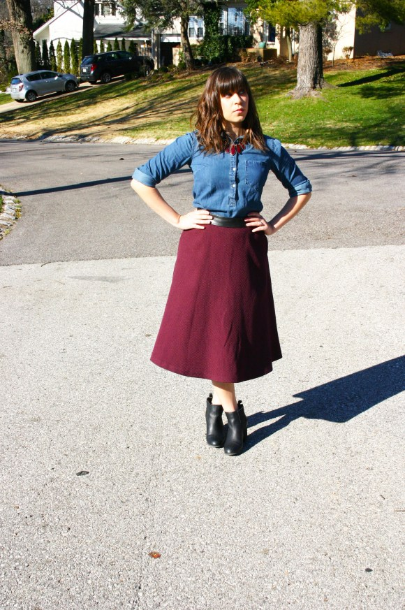 Jeanne FBC Burgundy Midi Skirt Chambray Shirt Red Statement Necklace Black Booties 6