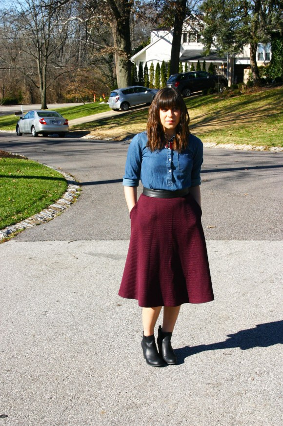 Jeanne FBC Burgundy Midi Skirt Chambray Shirt Red Statement Necklace Black Booties