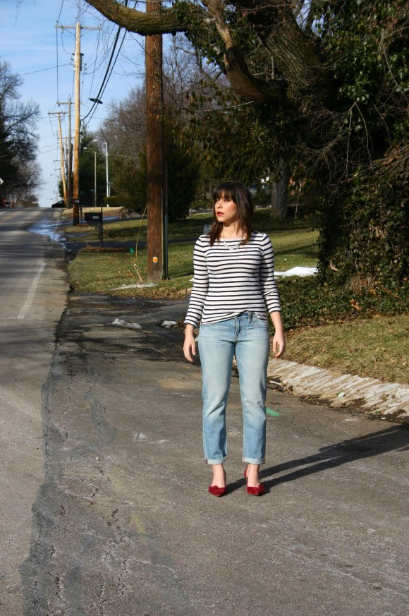 Jeanne FBC Lucky Brand Sienna Cigerette Jeans Striped Boatneck Shirt Sole Society Jensine Shoes Crimson Crystal Statement Necklace 4