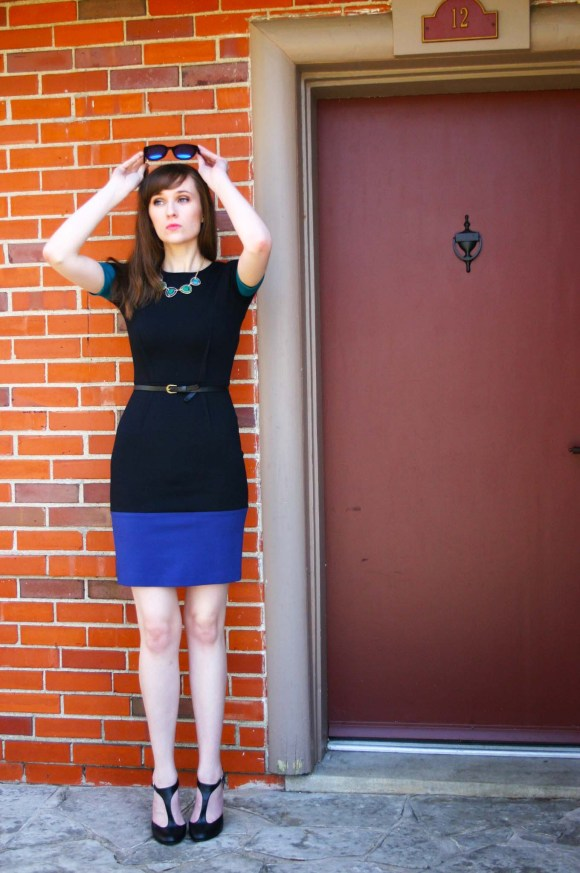 Emily from Fashion By Committee- BCBG Max Azaria color block dress, Francesca's statement necklace, Call it Spring mirrored sunglasses, Kohl's t-straps
