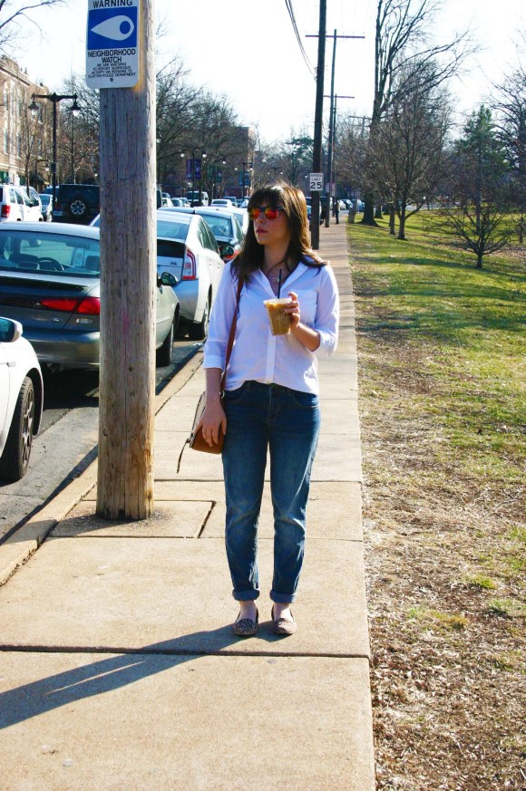 Jeanne FBC Banana Republic Riley White Button Down Target Who What Wear Boyfriend Jeans Ellie Leopard Loafers Brown Saddle Bag Gold Layered Necklaces Kaldi's Coffee Perfect Shopping Outfit