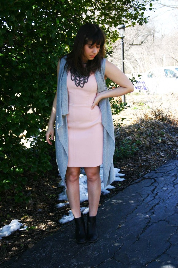 Jeanne FBC Blush Sheath Dress Banana Republic Factory Gray Waterfall Vest Steve Madden Black Chelsea Boots BaubleBar Country Bib Hematite Necklace 7