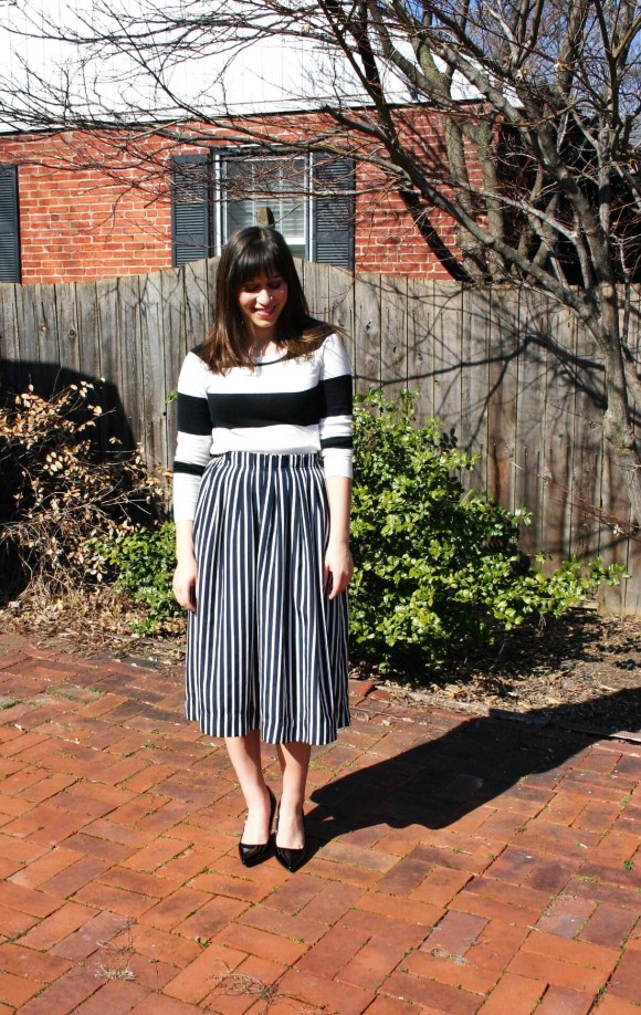 Jeanne FBC Stripes on Stripes Horizontal Verticle Target Black and White Sweater Midi Skirt Patent Heels Rebel Spring 2