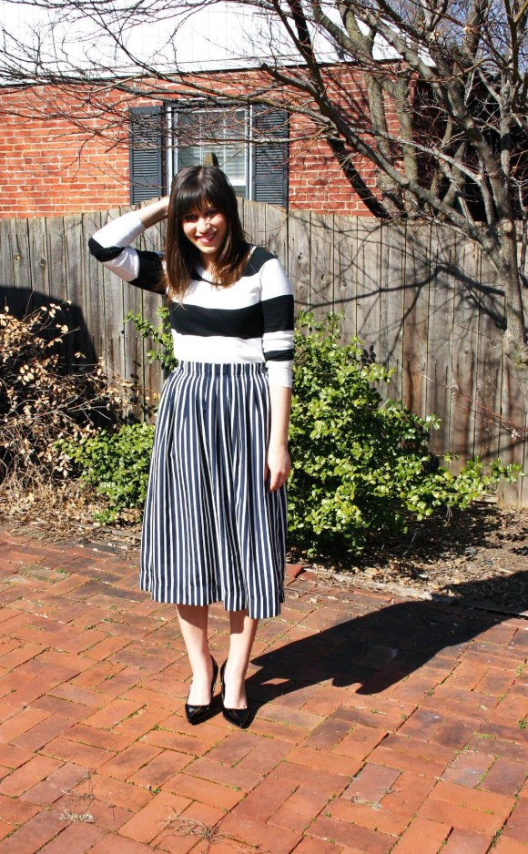 Jeanne FBC Stripes on Stripes Horizontal Verticle Target Black and White Sweater Midi Skirt Patent Heels Rebel Spring 4