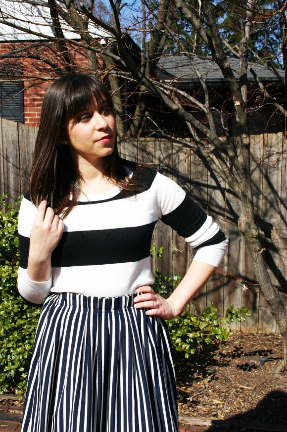Jeanne FBC Stripes on Stripes Horizontal Verticle Target Black and White Sweater Midi Skirt Patent Heels Rebel Spring 8