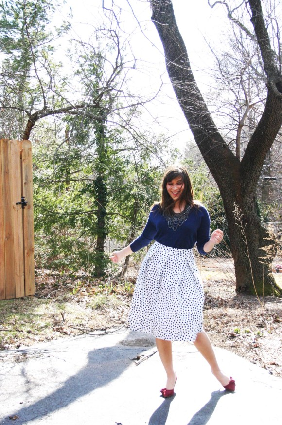 Jeanne FBC Target Who What Wear Black White Polka Dot Birdcage Skirt Navy Sweater Sole Society Crimson Jensine Heels Bow BaubleBar Courtnry Bib Necklace Hematite 2