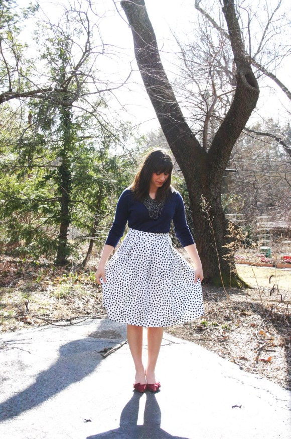 Jeanne FBC Target Who What Wear Black White Polka Dot Birdcage Skirt Navy Sweater Sole Society Crimson Jensine Heels Bow BaubleBar Courtnry Bib Necklace Hematite 6