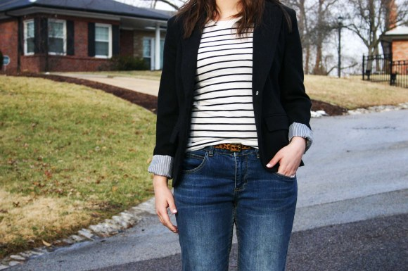 Jeanne FBC Target striped shirt black blazer Who What Wear boyfriend jeans leopard belt black heels 1