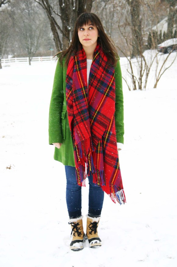 Jeanne FBC green wool coat Target red plaid scarf white H&M knit sweater LOFT legging jeans Sorel Tivoli Boots Snow Day Winter 1
