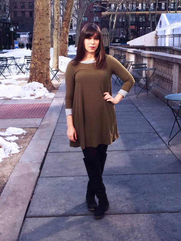 Jeanne FBC olive swing dress LOFT striped shirt black tights sole society Andie OTK boots 7