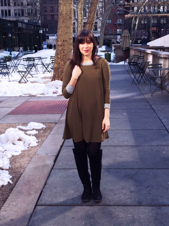 Jeanne FBC olive swing dress LOFT striped shirt black tights sole society Andie OTK boots