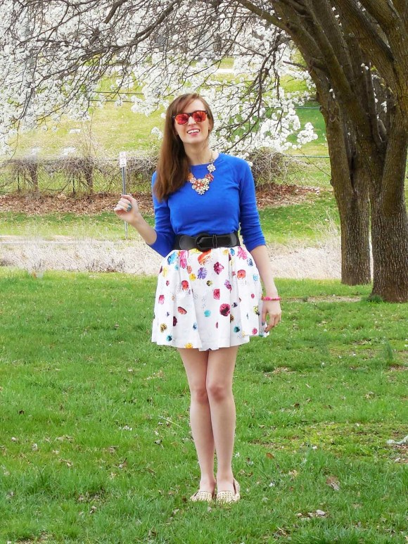 Emily from Fashion By Committee- Prabal Gurung from Target dress, Target cobalt sweater and floral statement necklace, Old Navy sunglasses, Bakers gold spike flats