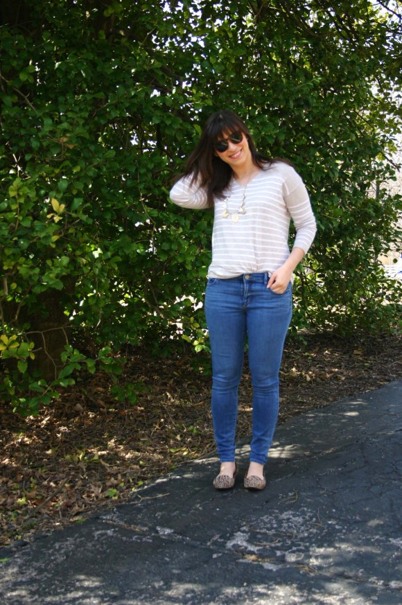 Jeanne FBC Camel and White Striped Pullover Sweater LOFT skinny jeans Leopard Loafers Target Geometric Silver and Gold Necklace Weekend Casual 5