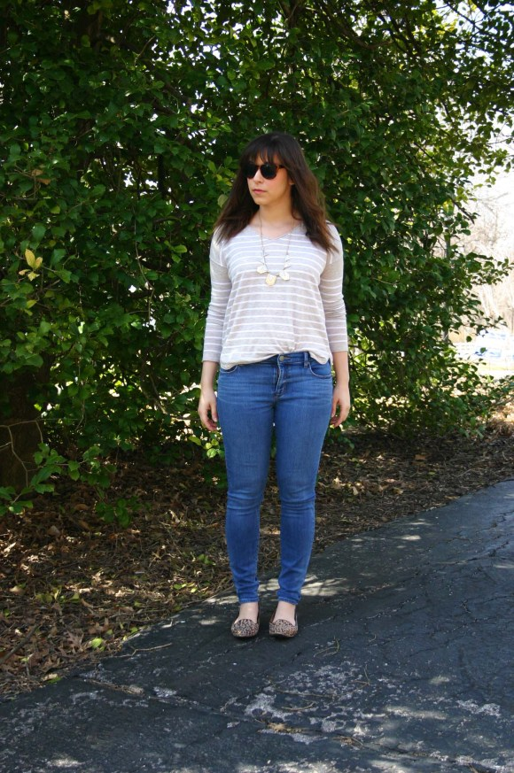 Jeanne FBC Camel and White Striped Pullover Sweater LOFT skinny jeans Leopard Loafers Target Geometric Silver and Gold Necklace Weekend Casual 7