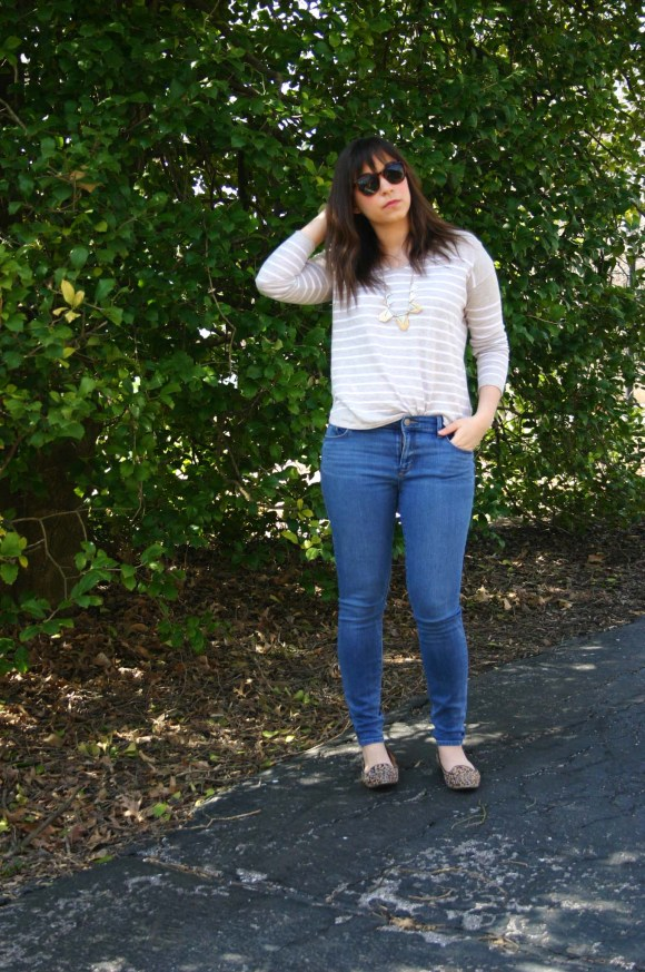 Jeanne FBC Camel and White Striped Pullover Sweater LOFT skinny jeans Leopard Loafers Target Geometric Silver and Gold Necklace Weekend Casual