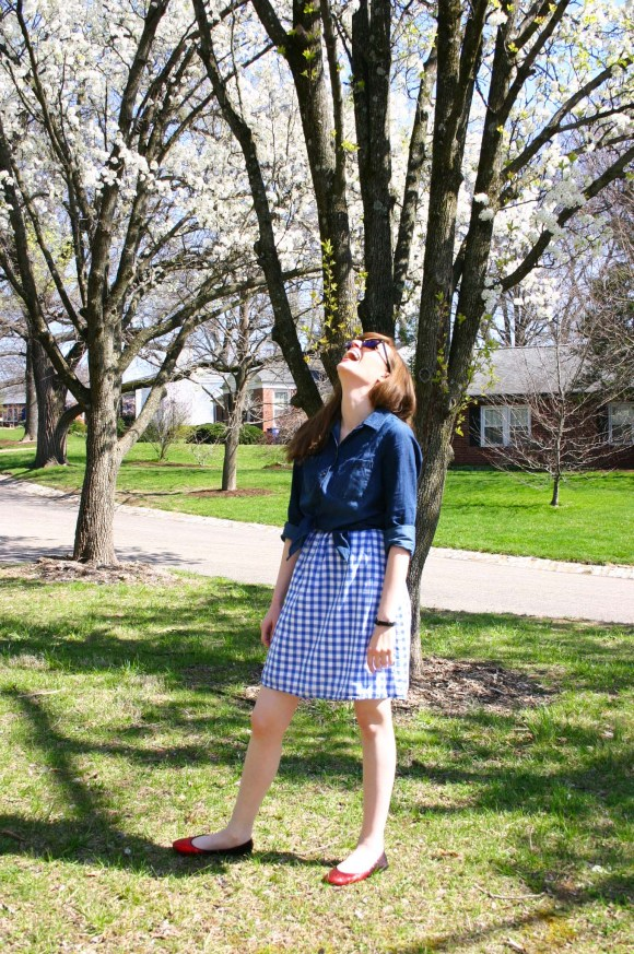 Emily from Fashion By Committee- Target dark chambray shirt, Call It Spring reflective sunglasses, Payless Shoe Source red ombre glitter flats, blue gingham dress