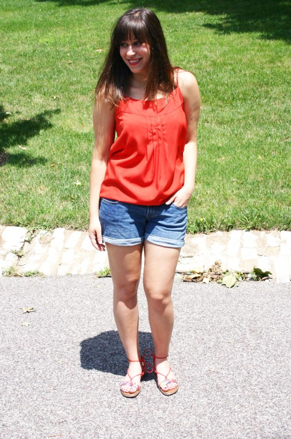 Jeanne FBC Old-Navy-Denim-Shorts-Red-Silk-Cami-Patterned-Lace-Up-Sandals-summer-outfit 4
