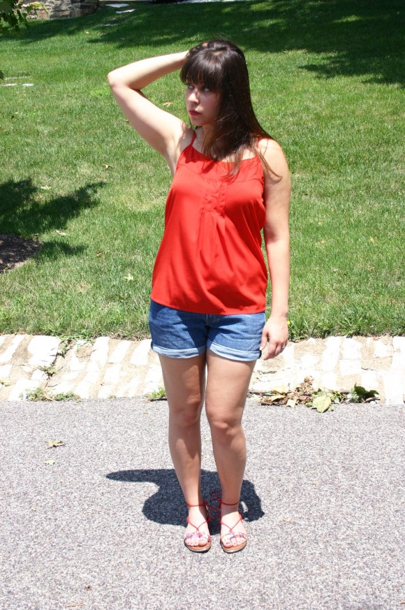 Jeanne FBC Old-Navy-Denim-Shorts-Red-Silk-Cami-Patterned-Lace-Up-Sandals-summer-outfit 6