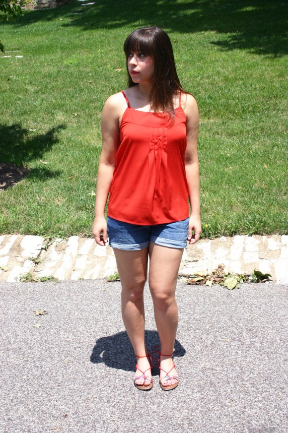 Jeanne FBC Old-Navy-Denim-Shorts-Red-Silk-Cami-Patterned-Lace-Up-Sandals-summer-outfit 7
