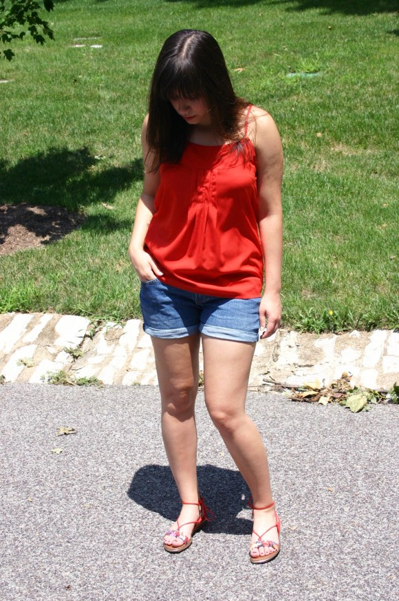 Jeanne FBC Old-Navy-Denim-Shorts-Red-Silk-Cami-Patterned-Lace-Up-Sandals-summer-outfit