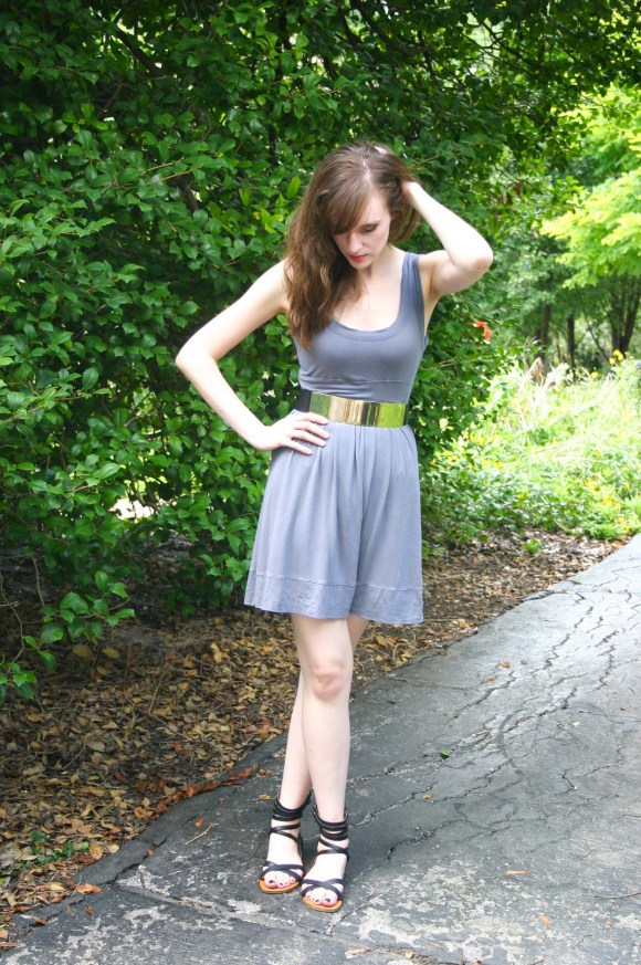 Emily from Fashion By Committee- Forever 21 tank dress, H&M gold plate desk, Target Stevie's gladiator sandals