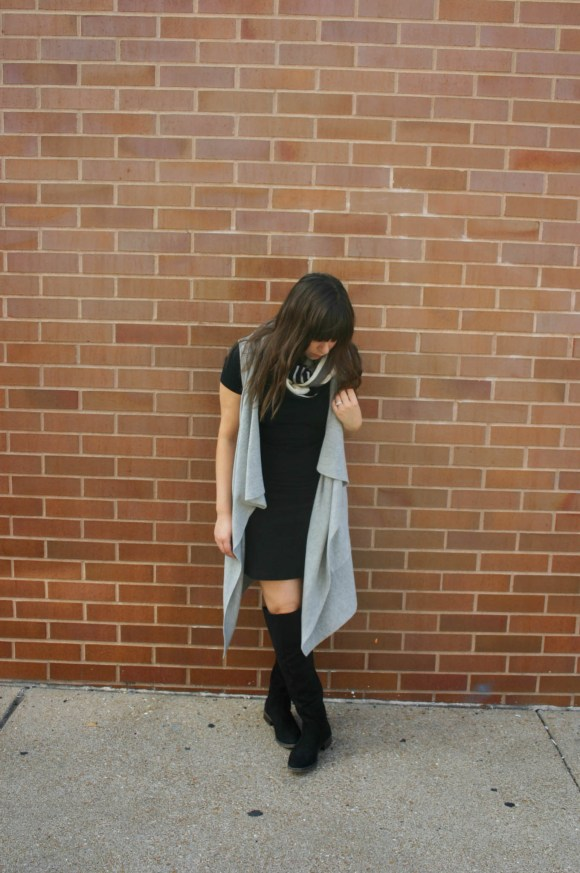 jeanne-fbc-old-navy-black-tee-dress-gray-waterfall-draped-vest-hm-patterened-tube-scarf-sole-society-andie-over-the-knee-boots-gold-tassel-earrings-fall-fashion