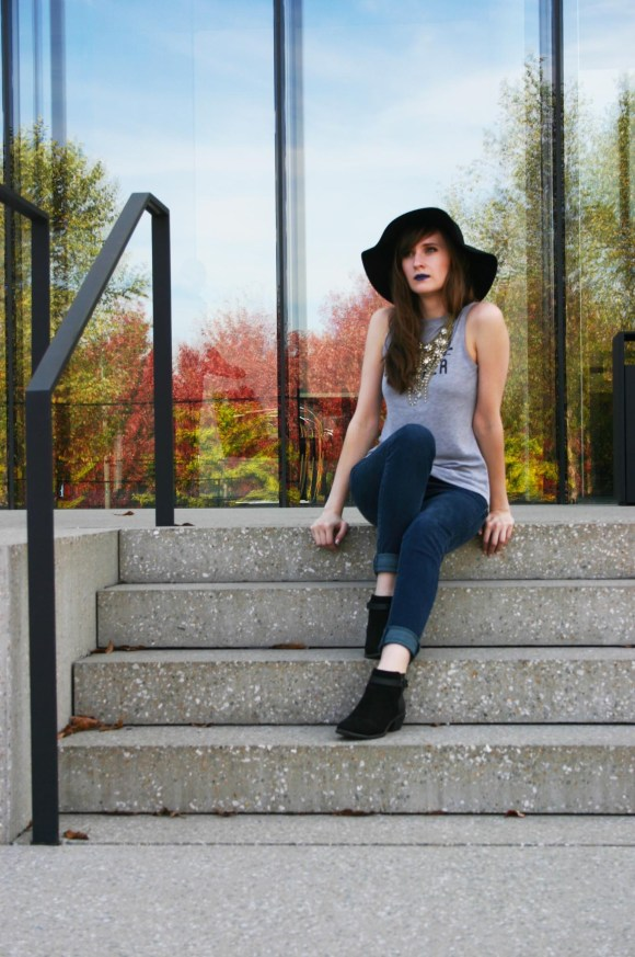 Emily from Fashion By Committee- Soft Surroundings statement necklace, Target Beautiful Dreamer tank top, American Eagle skinny jeans, Old Navy black booties, Kohl's Apt. 9 floppy black felt hat