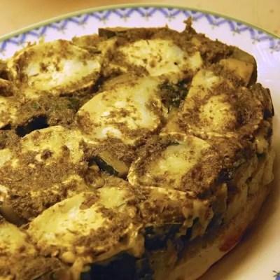 Tatin de courgettes au chèvre et au pesto & Pâte brisée à l'huile d'olive
