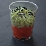 Verrines saumon cru-chantilly au wasabi