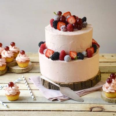 Gâteau vanille & glaçage rhubarbe