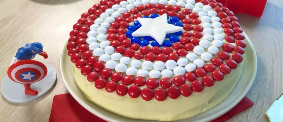 Des m&m's tricolores – Gâteau Captain America