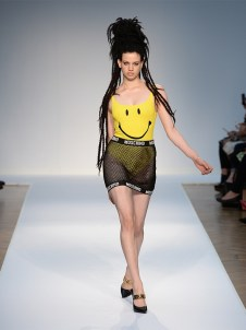 Dreadlocks, Smiley Faces & Mesh at Moschino Spring '15 Runway Show