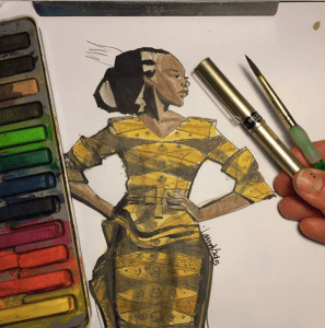 African Print Fashion Illustration of a look by unknown designer illustrated by Laura volpintesta