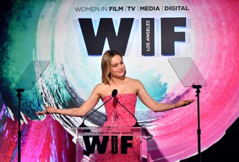 BEVERLY HILLS, CA - JUNE 13: Brie Larson accepts The Crystal Award for Excellence in Film onstage during the Women In Film 2018 Crystal + Lucy Awards presented by Max Mara,Lancôme and Lexus at The Beverly Hilton Hotel on June 13, 2018 in Beverly Hills, California. (Photo by Emma McIntyre/Getty Images for Women In Film)