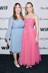 BEVERLY HILLS, CA - JUNE 13: Executive Director of Women In Film, Los Angeles Kirsten Schaffer (L), wearing Max Mara, and Brie Larson attend the Women In Film 2018 Crystal + Lucy Awards presented by Max Mara, Lancôme and Lexus at The Beverly Hilton Hotel on June 13, 2018 in Beverly Hills, California. (Photo by Emma McIntyre/Getty Images for Women In Film)