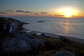 Photograph of Sennen Beach at sunset, 4 miles from Fat Hen