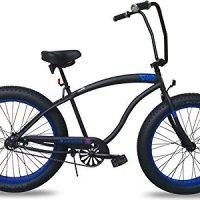 Micargi SLUGO FAT TIRE Beach Cruiser Bike -- Matte Black with Blue Rims