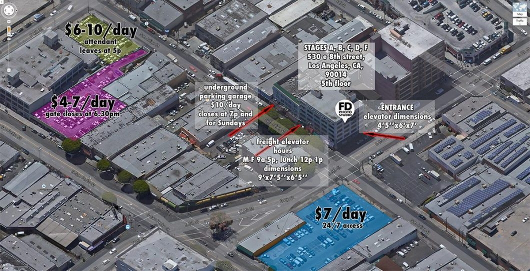 parking map for Main location of FD Photo Studio
