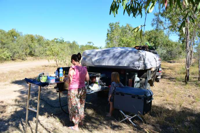 Roadside lunch stop -we love being able to access our full kitchen for a road side stop!