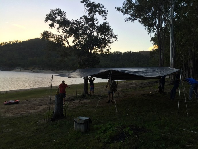 Setting up the communal tarp area - the weather forecast was for lots of rain so we wanted to be prepared!