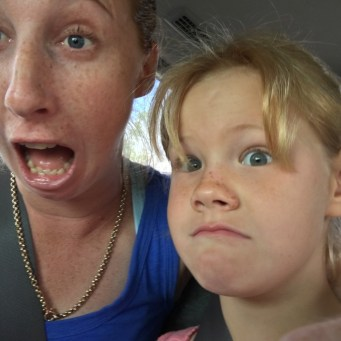 Aunty Kate and Lexi going a bit roadtrippin crazy in the back seat