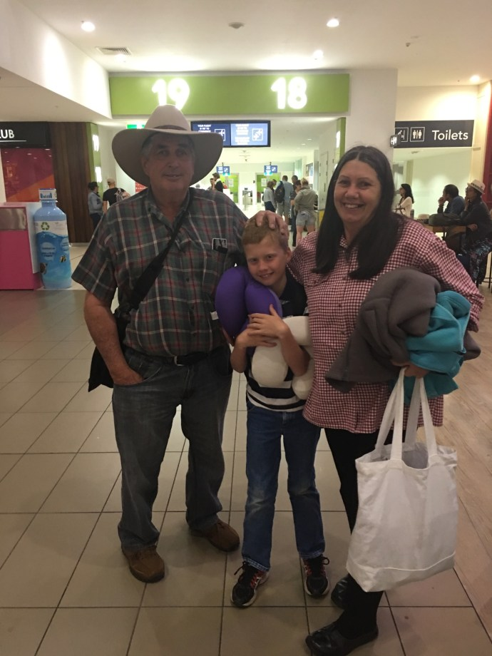 Tobes off to Pannawonica WA with Grammy and Grunda for two weeks to visit the Campbells
