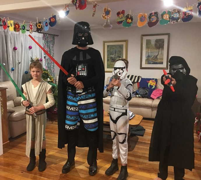 School holiday fun - midnight screening of the new star wars movie - in costume of course!