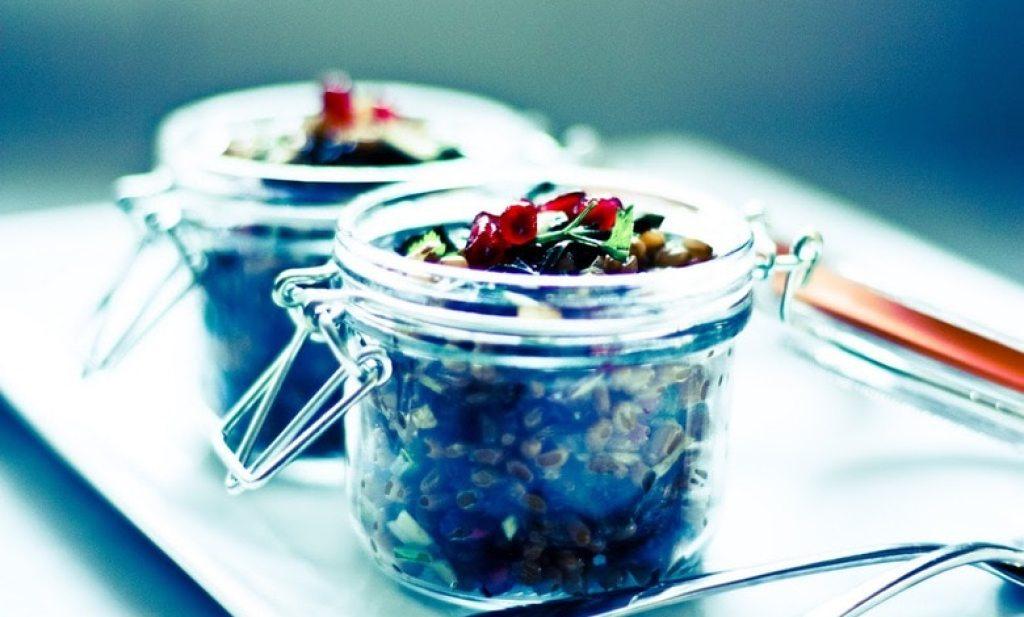 Farro and Kale Salad with Pomegranate and Almonds | www.feastingathome.com