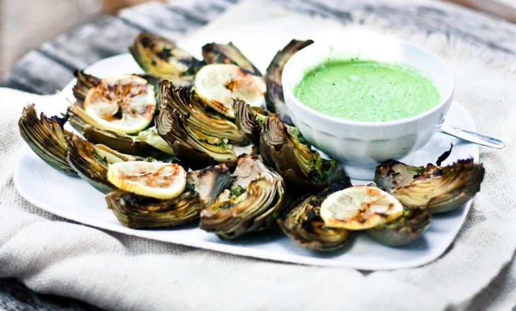 Grilled Artichokes with Basil Aioli | www.feastingathome.com