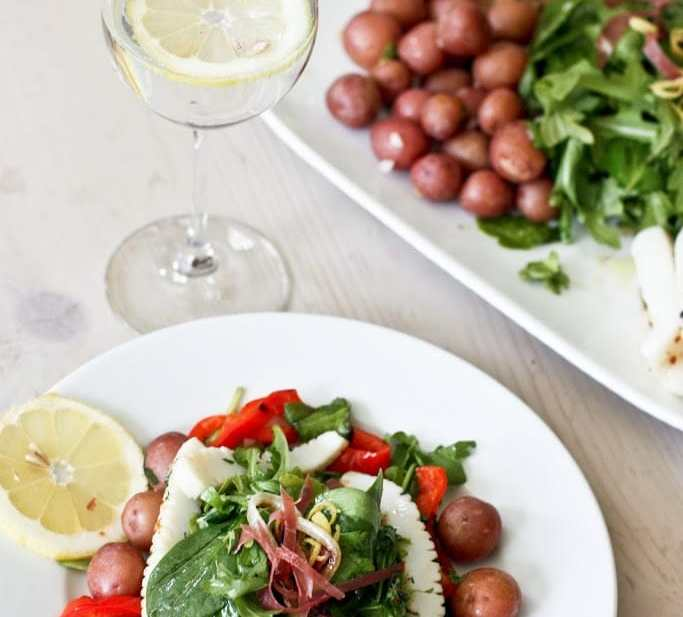 Grilled Calamari Salad with Arugula and Preserved Lemon Vinaigrette | www.feastingathome.com