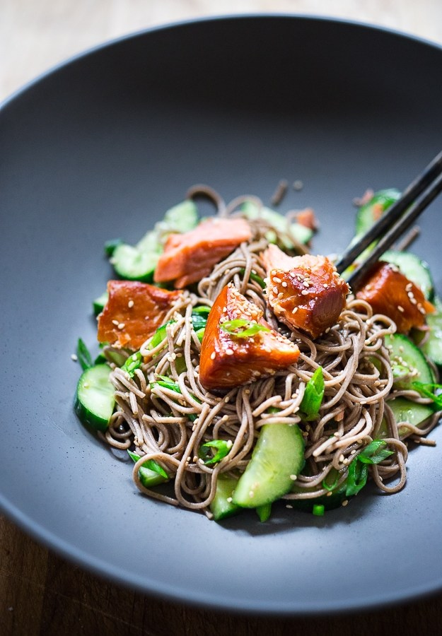 Sesame Soba Noodle Salad with Smoked Salmon and Cucumber
