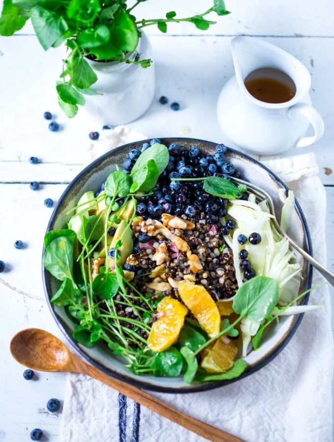 A healthy summer bowl packed full of nutrients for the skin- blueberries, avocado, walnuts, watercress, black nile barley with a bee pollen vinaigrette!   www.feastingathome.com