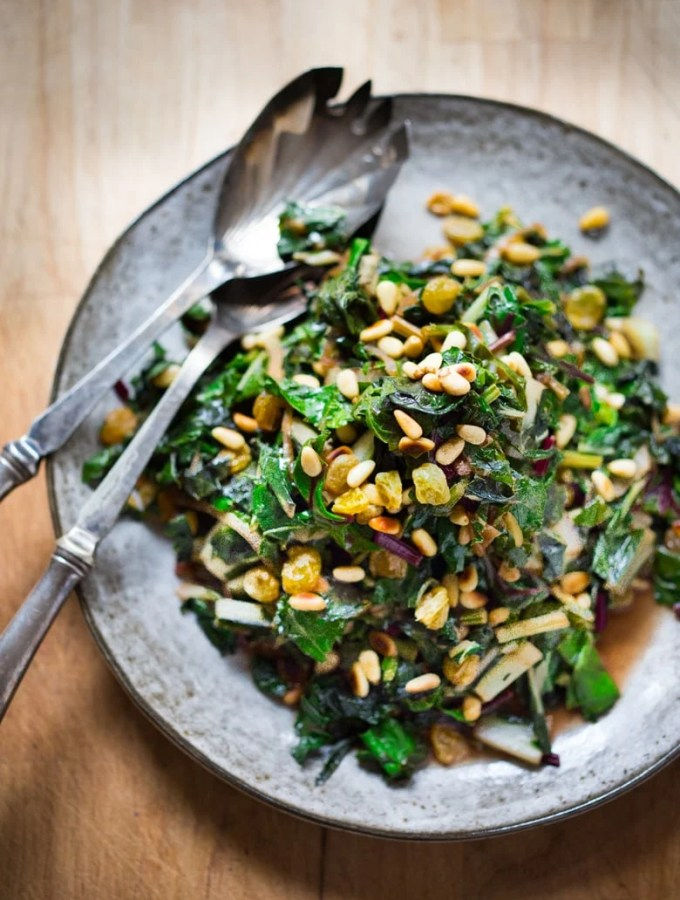 Catalan Style Wilted Greens with Garlic, Sultanas and Pine nuts ...a simple healthy recipe| www.feastingathome.com