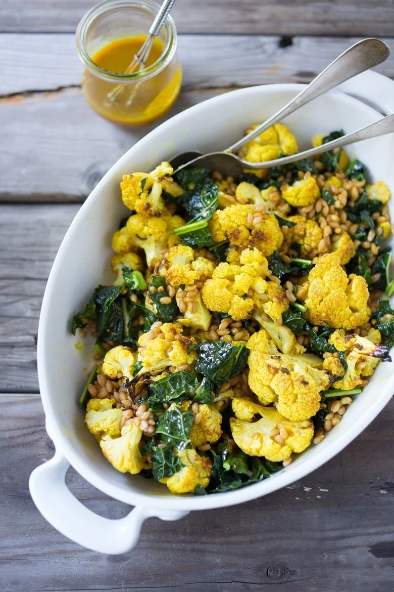 Roasted Cauliflower Kale & Farro Salad with Turmeric Dressing